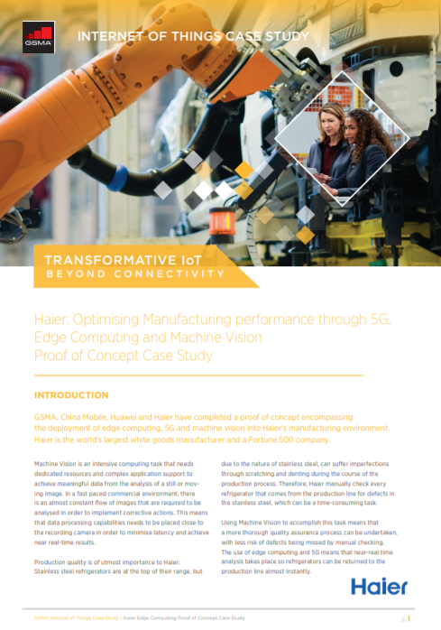 Haier: Optimising Manufacturing performance through 5G, Edge Computing and Machine Vision image