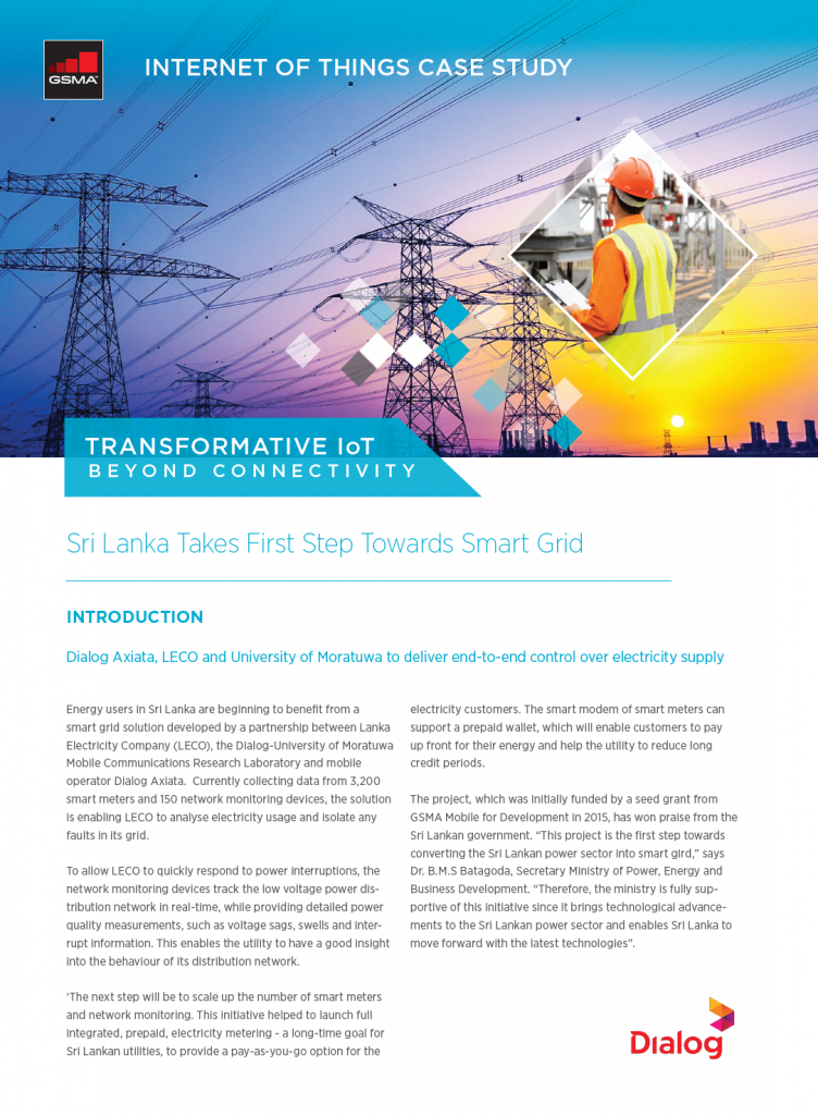 IoT Beyond Connectivity Case Study, by Dialog Axiata: Sri Lanka Takes First Step Towards Smart Grid image