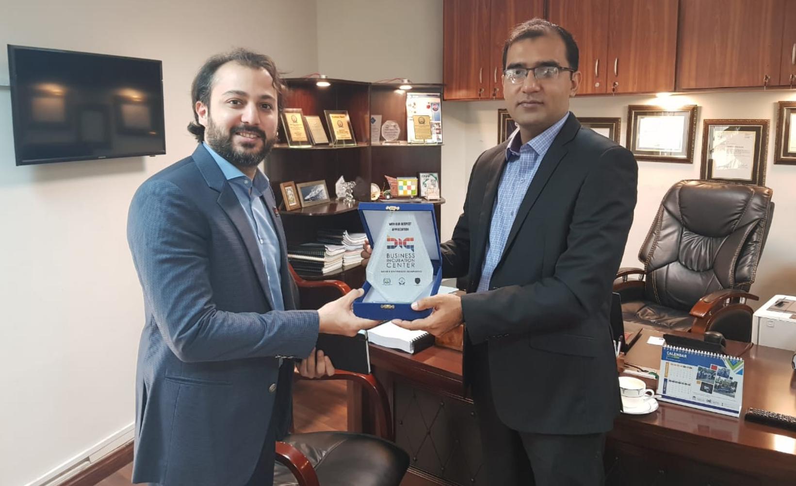 Prof Dr Shehzad Khalid Director Business Incubation Centre, Bahria University and Bilal Qureshi GSMA Ecsosystem Accelerator Market Engagement Manager