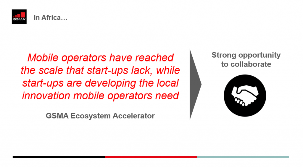 GSMA Ecosystem Accelerator slide we presented during Digital Teranga Days