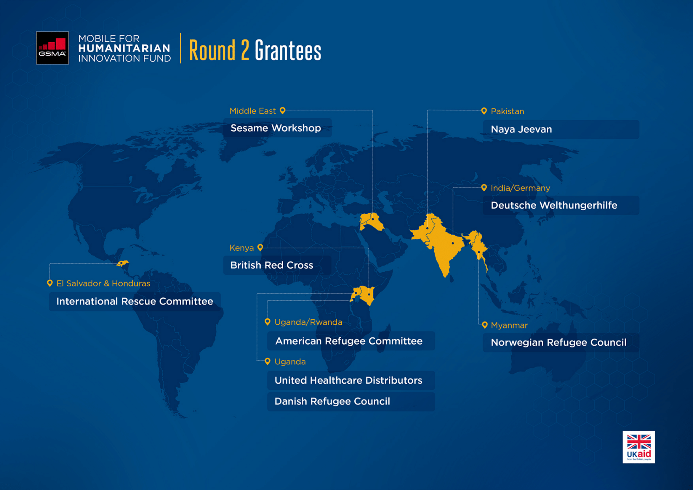 A map of our nine Round 2 grantees