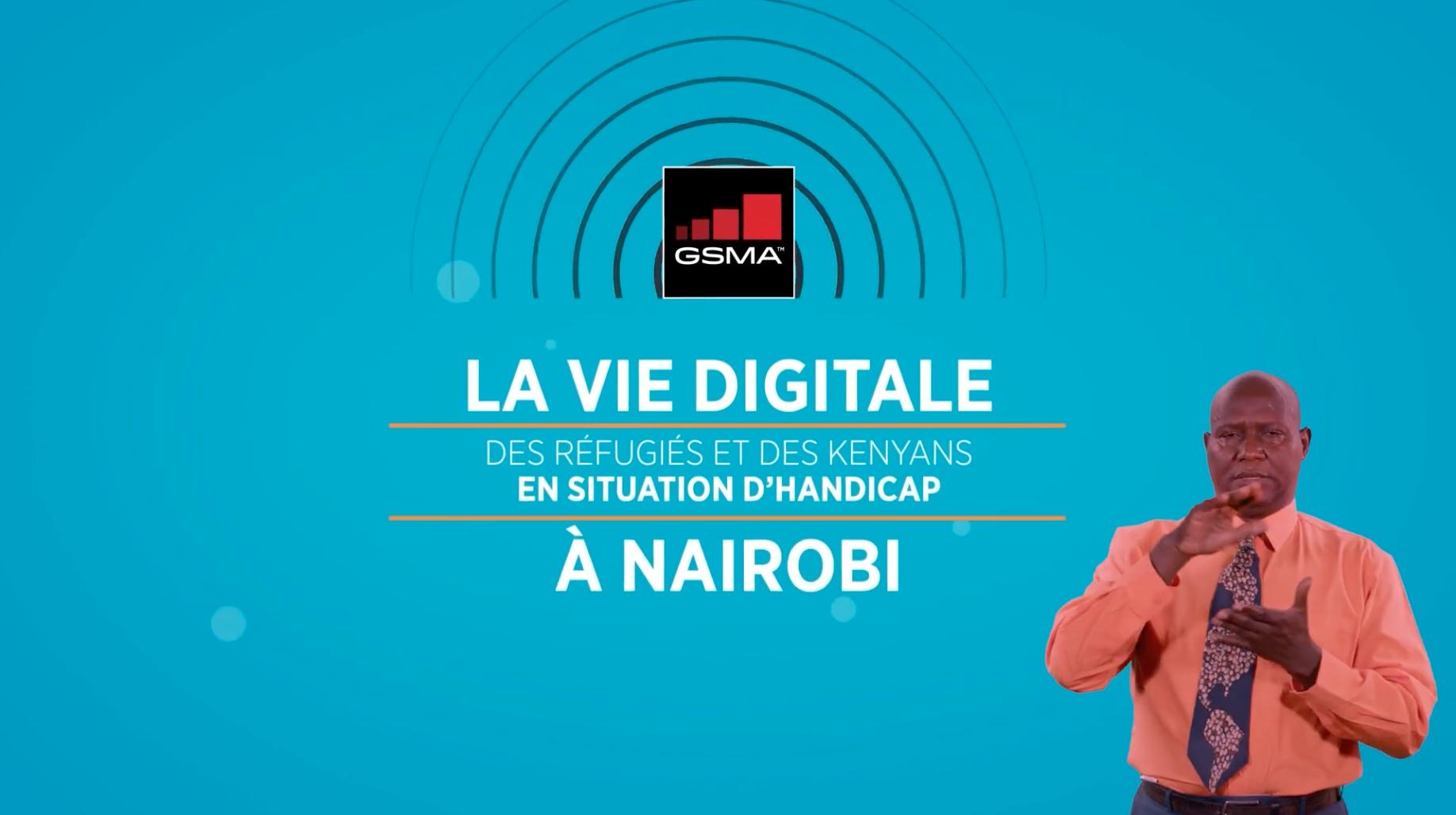 Screen of video title screen in French. Text reads: La vie digitale des réfugiés et des Kenyans en situation d'handicap à Nairobi