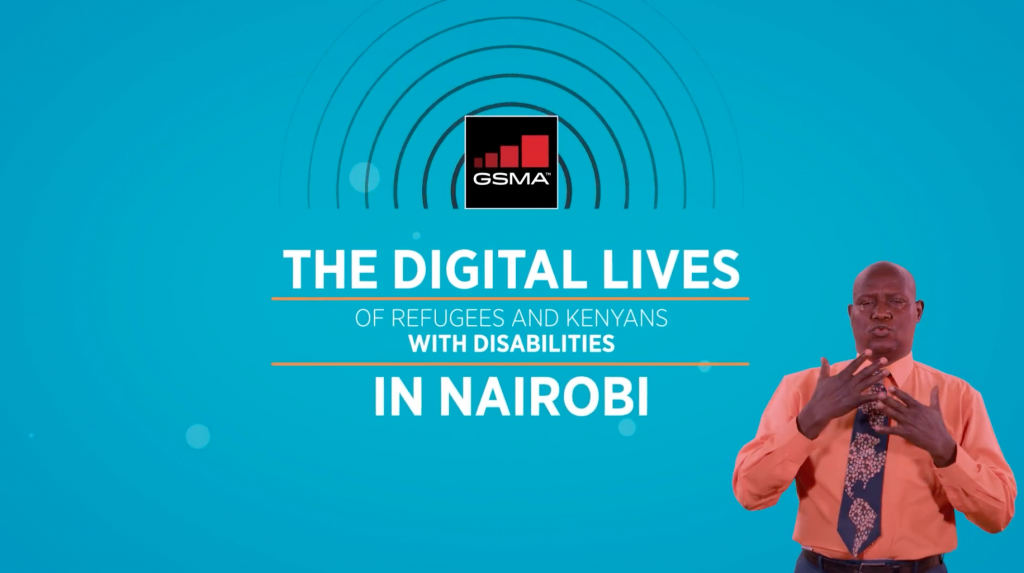 Screen of video title screen in English. Text reads: The digital lives of refugees and Kenyans with disabilities in Nairobi