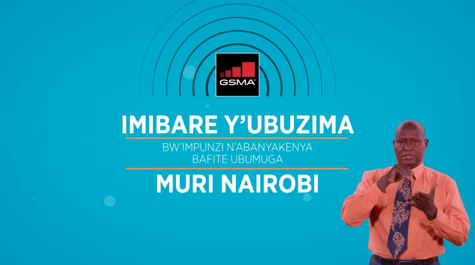 Screen of video title screen in Kinyamulenge. Text reads: Imibare y'ubuzimo bw'impunzi n'Abanyakenya bafite ubumuga muri Nairobi