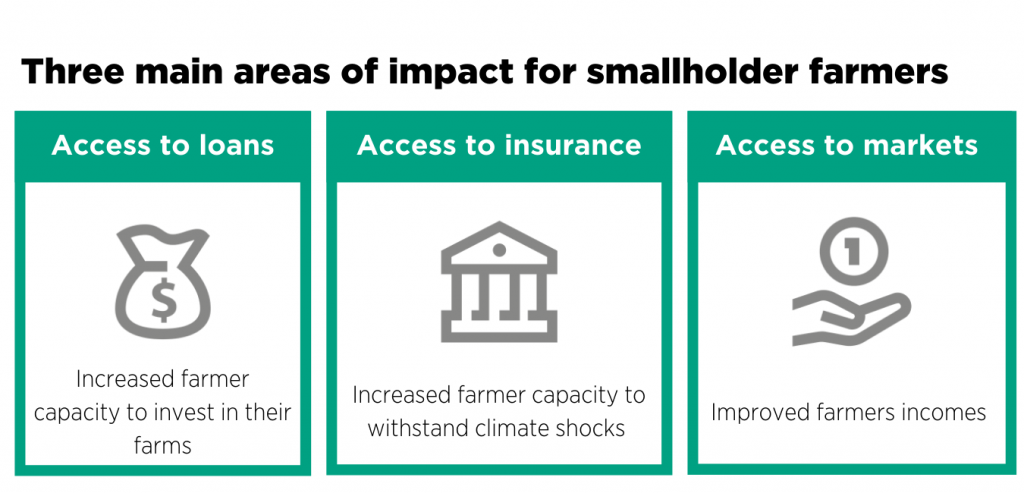 figure of the three main areas of impact for farmers: access to loans, access to insurance and access to markets
