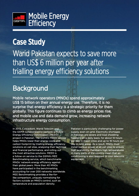 Case Study: Warid Pakistan expects to save more than US$6 million per year after trialling energy efficiency solutions image