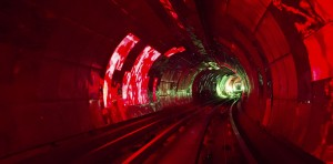 colorful shining circle tunnel lined background