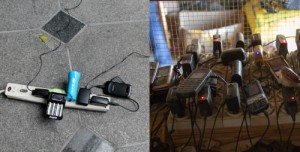 Mobile phone charging in New York City after Sandy (left) and in Ghana (right).
